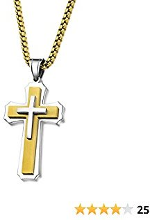 Yiyifu Cross Necklace for Men Titanium Steel Pendant Necklace Domineering Men's and Women's Jewelry Christian Accessories Three Layer Chains