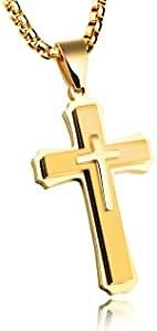 Cross Necklace for Men Titanium Steel Pendant Necklace Domineering Men's and Women's Jewelry Christian Accessories Chain