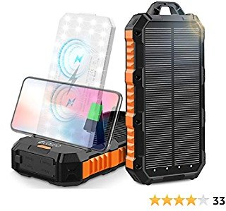 Wireless Solar Charger 30000mAh, Qi Portable Power Bank with Dual Wireless Coil&Adjustable Phone Holder, 4 USB Outputs&30LED Flashlights, Dual Inputs Huge Capacity Solar Power Bank for IPhone, Android