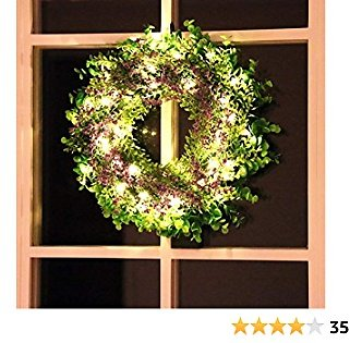 Kurala 16 Inches Artificial Lavender Green Leaf Wreath with 40 Led Lights and Timer Battery Operated Front Door Wall Window Party Decoration