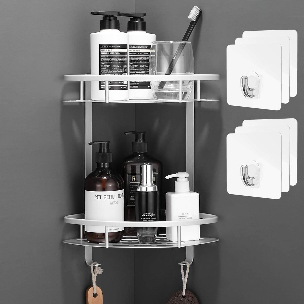 2 Tiers Corner Shower Caddy, Shower Organizer, Wall Mounted Aluminum Shower Shelf with Adhesive(No Drilling), Storage Rack for T