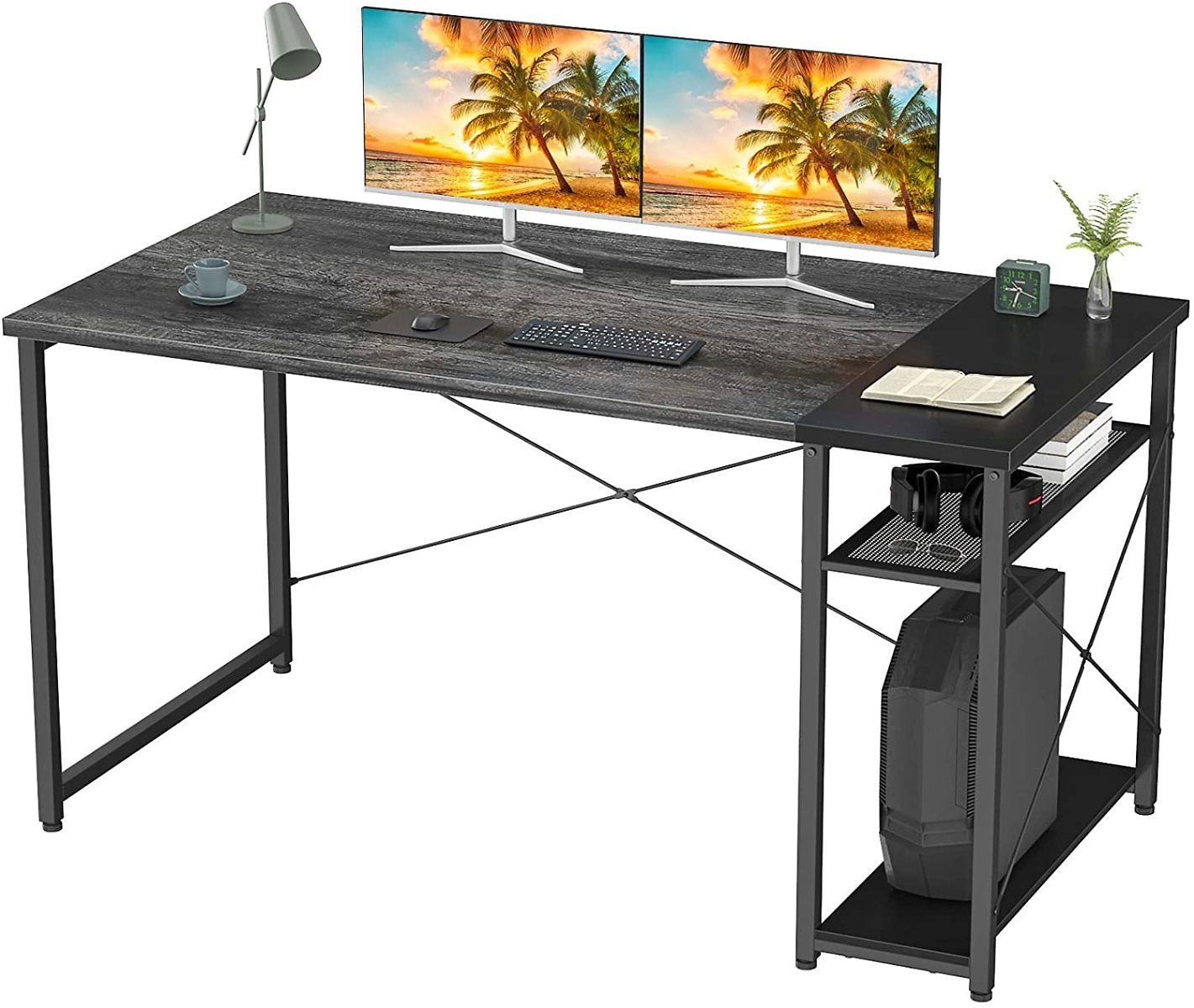 Homfio Desk with Shelves, 47 Inch Industrial Wood Office Desk with Storage Shelf, Vintage Study Writing Table for Home Office Work, Sturdy Room Desk for Gaming Workstation, Black Oak and Black