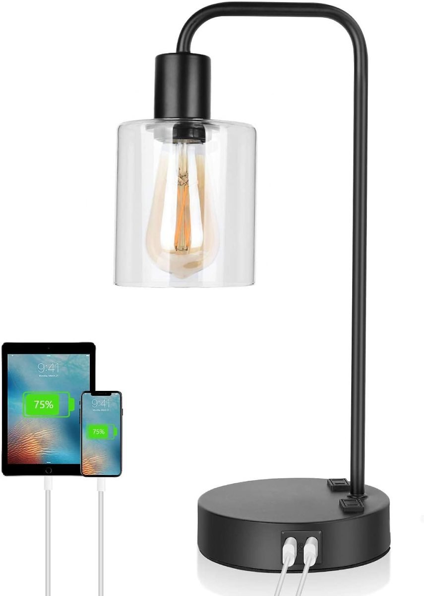 Touch Control Industrial Table Lamp with 2 USB Ports, 3 Way Dimmable Vintage Nightstand Desk Lamp, Clear Glass Shade Bedside Lam