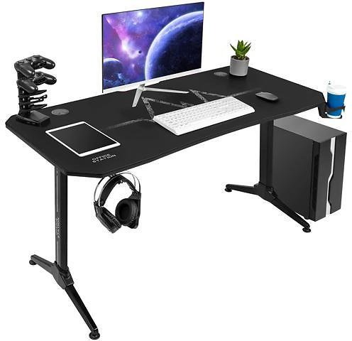 Furmax 55 Inch Gaming Desk Racing Style PC Computer Desk T-shaped Frame Table Home Office Desk with Large Carbon Fiber Surface, Free Mouse Pad, Headphone Hook, Gaming Handle Rack and Cup Holder