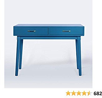 White Writing Computer Desk with 2 Storage Drawers for Home Office,Modern Laptop PC Table Workstation, Vanity Table (Royal Blue)