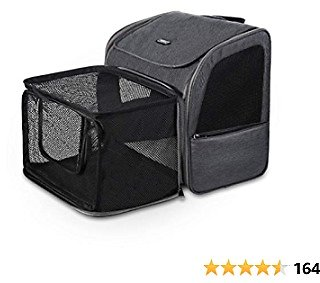 Petacc Pet Carrier Backpack, Dog Cat Carrier Backpack, Expandable with Breathable Mesh, Portable Pet Backpack Bag for Small Dogs Cats Puppies, Hold Pets Up to 15 Lbs
