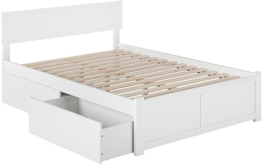 Atlantic Furniture Orlando White Full Platform Bed with Flat Panel Foot Board and 2 Urban Bed Drawers-AR8132112