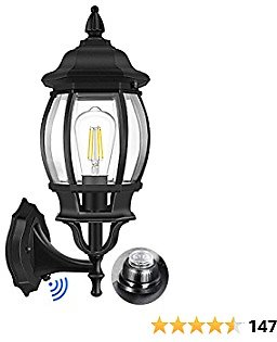 Dusk to Dawn Sensor Outdoor Wall Lantern, Exterior Wall Sconce Light Fixture with E26 Base Socket, Matte Black Wall Mount Lamp, Anti-Rust Waterproof with Clear Glass Shade for Garage, Porch, Doorway