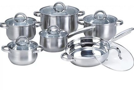Heim Concept 12 Piece Stainless Steel Non Stick Cookware Set