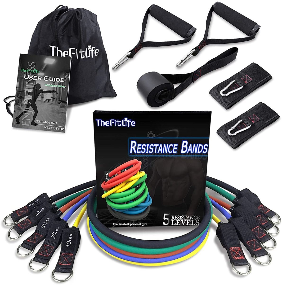 Set of 5 - Exercise Resistance Bands with Handles