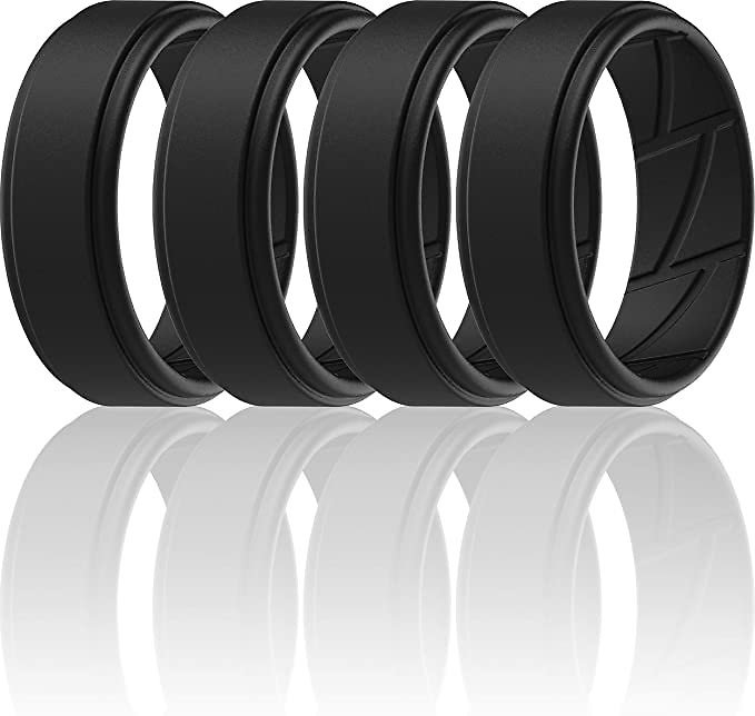 Pack of 4 - Silicone Wedding Rings for Men