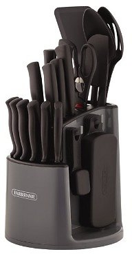 Farberware Classic 30-Piece Spin N Store Rotating Carousel Cutlery and Tool Set in Gray