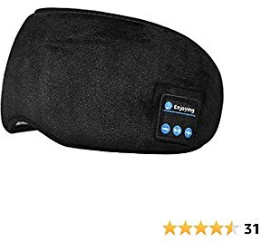 Sleeping Headphones Bluetooth Eye Cover, Sleeping Wireless Music Soft Plush Blindfold, Sleeping Eye Cover with Built in Speakers for Travel/Nap (Black)