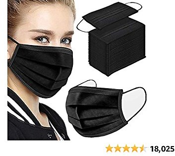 500PCS 3 Ply Black Disposable Face Shield Filter Protection Breathable Dust Proof