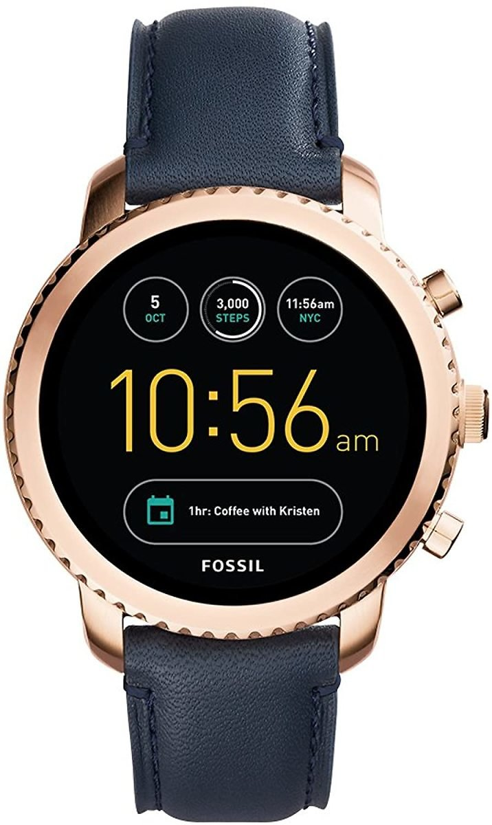 Fossil Q Men's Gen 3 Explorist Stainless Steel and Leather Smartwatch, Color: Rose Gold-Tone, Blue (Model: FTW4002): Watches