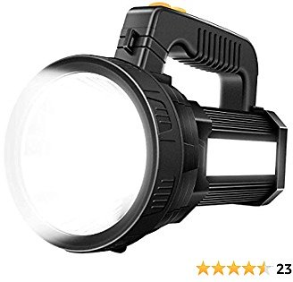 YBQZ Bright Rechargeable Searchlight Handheld LED Flashlight Tactical Spotlight 6000 Lumens Ultra-long Standby Electric Torch with USB OUTPUT As a Power Bank (Black)