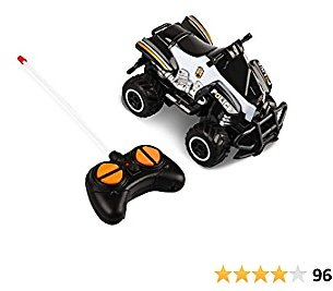 Mini Toy Cars Police Car Toys for Boys Age 4-7, Remote Control Car for Boy Toys for 2-4 Year Old Boys Toddler Small Rc Cars Birthday Gifts for 3-4 Year Old Boys 1/43 Scale 27Mhz Black