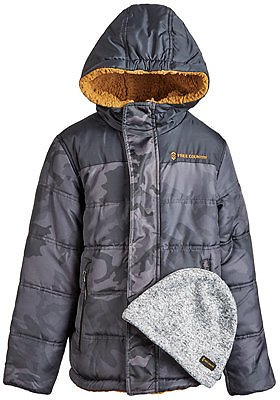 Big Boys Puffer Coat & Beanie Hat