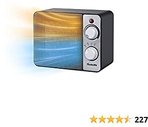 TECHVILLA Small Space Heater 2 in 1 Fan & Ceramic Fast Heating with Overheat & Tip-Over Protection, 1500W Electric Heater, Portable and Quiet Oscillating Heater for Office Home, Indoor Use