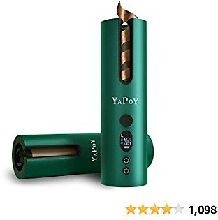 YAPOY Hair Curler Cordless Auto Curling Iron Tongs Electric Rotating with Battery Heat Isolating Chamber LCD Display Temperature Control & Timer Settings Green