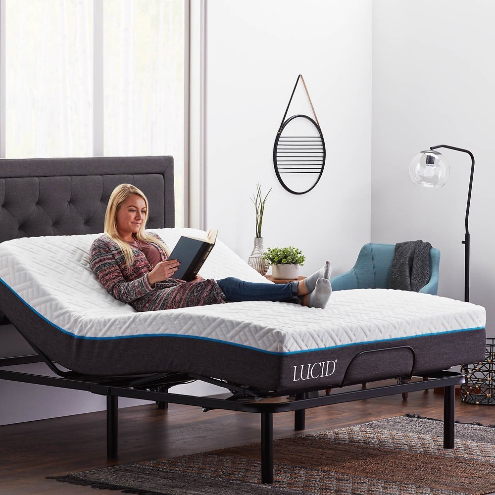Lucid Basic Remote Controlled Adjustable Bed Base - Heavy Duty Steel Multi Position - Queen