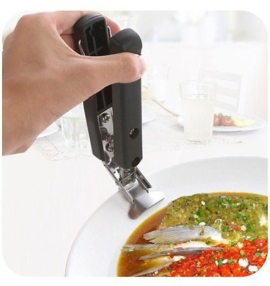 1pc Black Stainless Steel Dish Clip | Rotita.com