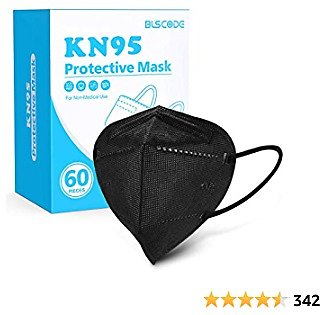 KN95 Face Mask 60 Pack, BLScode Individually Wrapped 5-Layer Breathable Cup Dust Mask with Comfortable Elastic Ear Loops,