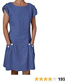 Yidarton Women's Cotton Linen Dress Italian Style Summer Casual Loose Fitting Dress Roll-up Short Sleeve with Pockets