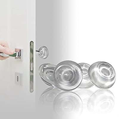 Door Stopper Wall Protector (4pk), Reusable Shock Absorbent Gel - Clear Door Handle Bumper Protector, Adhesive Wall Shield & Sil