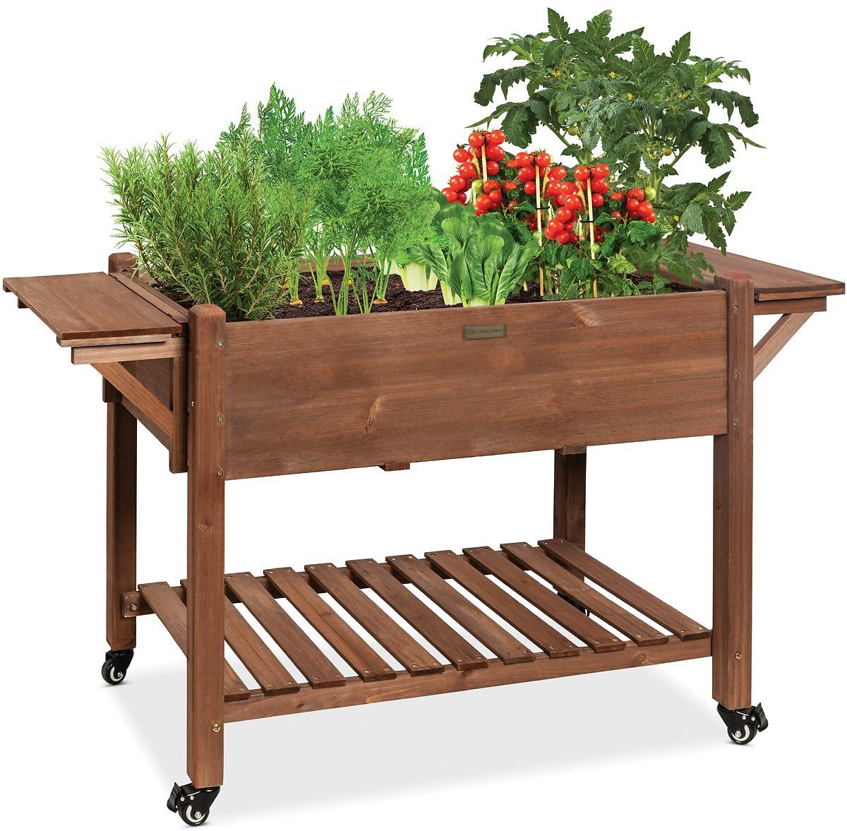 Mobile Raised Garden Bed Elevated Wood Garden Planter Stand - 57x20x33in