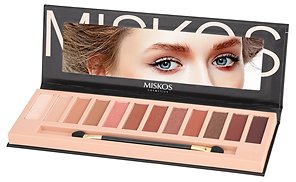 MISKOS 12 Colors Nude Tude Eyeshadow Palette Shimmer Matte Eye Makeup Pallete Set Highly Pigmented Red Dark Naked Eye Shadow Pallet (Shimmer B) : Beauty