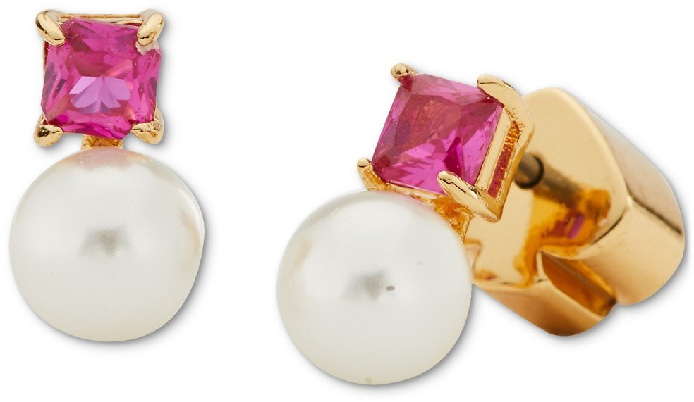 Kate Spade New York Gold-Tone Imitation Pearl and Stone Mini Stud Earrings
