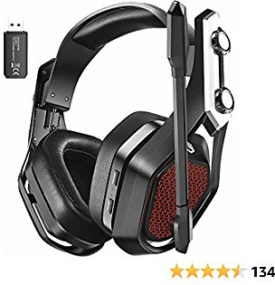 Mpow Iron Pro 2.4G Wireless Gaming Headset for PS4/PS5/PC, Computer Headset with Dual Chamber Driver, Noise Cancelling Mic, 20 Hours of Use, Bass, Ultra Light Over-Ear Gaming Headphones for Switch