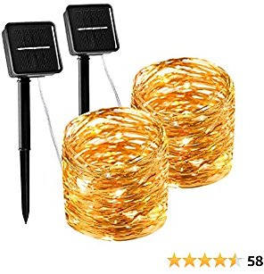 LABOREDUCER Solar String Lights, Copper Wire Fairy String Lights with 8 Modes,2 Pack 100 LED 33ft Waterproof Outdoor Decoration Lights for DIY Patio Garden Wedding Christmas Party (Warm White)