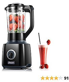 Blender Smoothie Blender 30000 RPM High Speed Blender with 53oz BPA Free Glass Jar, 4 Titanium Coated Different Edges Stainless Steel Blades for Shakes and Smoothies, Puree, Ice Crush