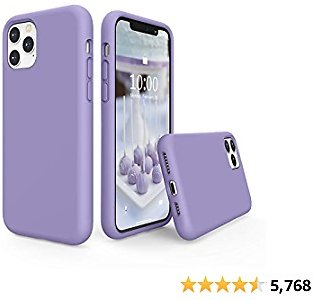 SURPHY Silicone Case Compatible with IPhone 11 Pro Max Case 6.5 Inch, Liquid Silicone Full Body Thickening Design Phone Case (with Microfiber Lining) for IPhone 11 Pro Max 6.5 2019 (Light Purple)