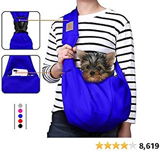 TOMKAS Dog Carrier for Small Dogs Small Dog Sling Carrier Puppy Carrier for Small Dogs Puppies Carrier(Royal Blue - Adjustable Buckle for 3-10 Lbs)