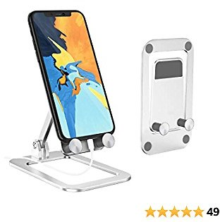 [2021 New] Cell Phone Stand with Foldable and Adjustable, Cell Phone Holder for Desk Case Friendly Mobile Phone Stand Dock Cradle Compatible with IPhone 12/ 12 Max/ 12 Max Pro/ Samsung/ Switch IPad