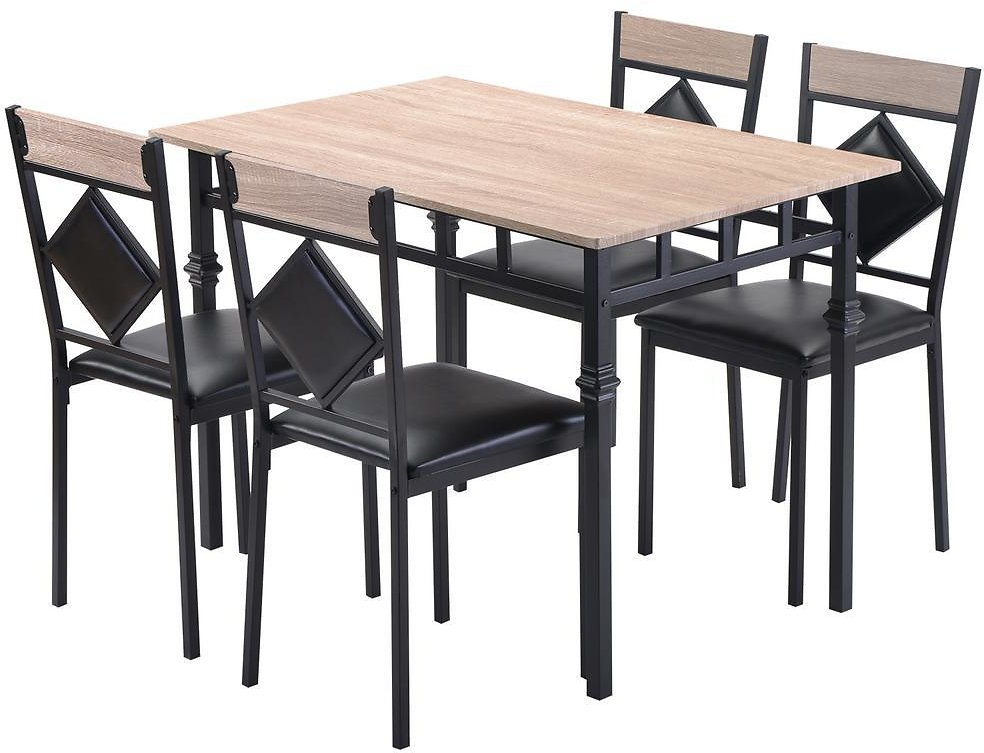 Boyel Living Nature Dining Table Set Wood Kitchen Table and 4 Leather Dining Chair 5 Piece Kitchen Table Set with Metal Frame-TR-021