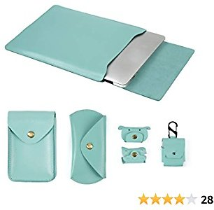 Moterm 13-Inch Leather Laptop Sleeve for New MacBook Pro and MacBook Air 13.3 Inches, Fits Model A1932/A1989/A1708/A1706 (5 in 1 Bundle, Green)