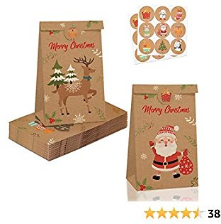 Brown Gift Bags Assorted Sizes Party Favors For Kids 8-12 ChristMas Decorations, ChristMas Wrapping Paper Bags Lunch Box For Kids Party Supplies Mini Gift Bags 12 Pcs Party Favor Bags
