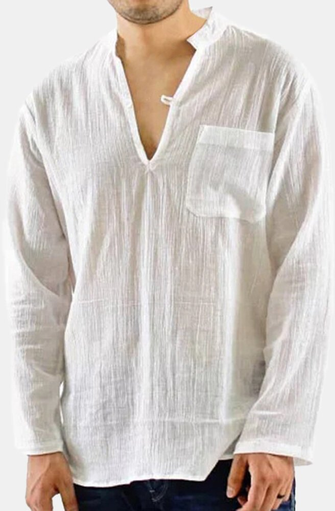 Mens Vintage Breathable Thin V-neck Solid Color Loose Casual T Shirts with Chest Pocket