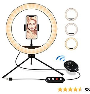10 Inch Selfie Ring Light with Stand, IUNUSI Ring Light with Tripod Stand and Phone Holder for TIK TOK, Dimmable Desk Led Beauty Camera Mini Ring Light for Makeup/YouTube Videos/Vlog