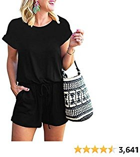 ANRABESS Women's Summer Short Sleeve Striped Jumpsuit Rompers with Pockets Short Pant Rompers Pajamas Loungewear