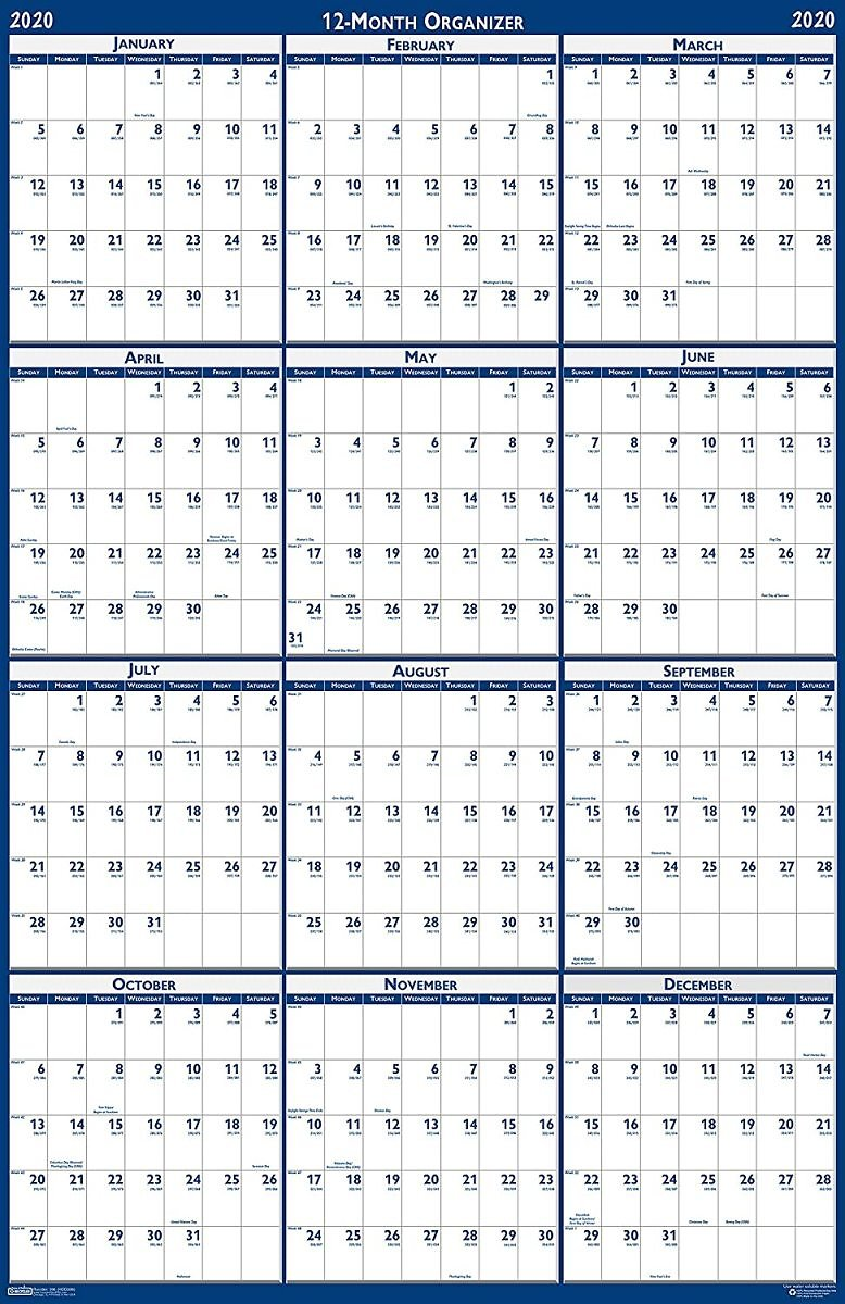 House of Doolittle 2020 Laminated Wall Calendar, Reversible, Horizontal/Vertical, 24 X 37 Inches