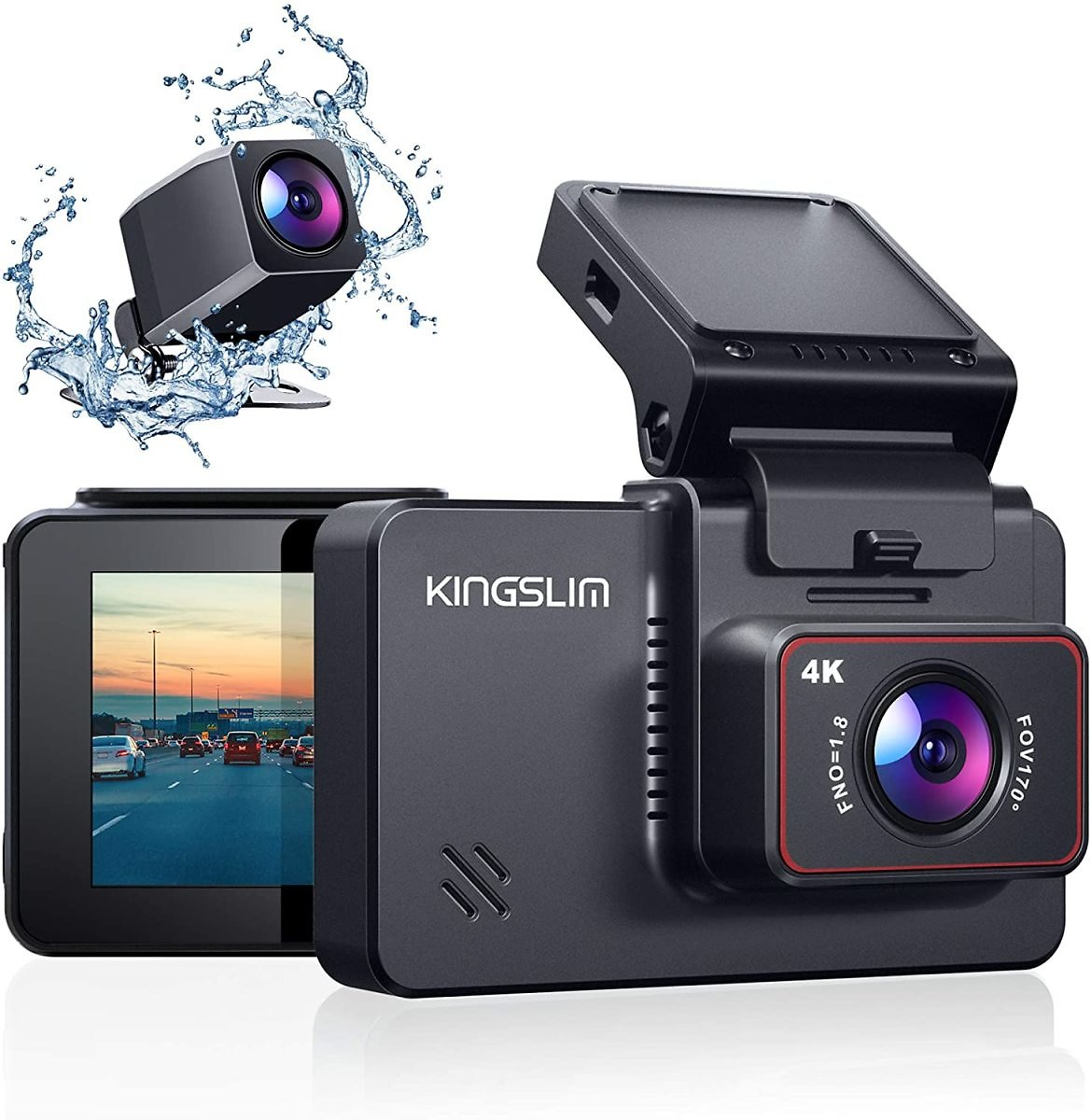 Kingslim D4 4K Dual Dash Cam with Built-in Wi-Fi GPS, Front 4K/2.5K Rear 1080P Dual Dash Camera for Cars , 3
