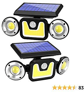 Yomisga Solar Lights Outdoor Wireless Motion Sensor Powered Security Light with 83 COB 3 Rotatably Adjustable Heads IP65 Waterproof Flood Lamp for Your Porch,Yard, Garden (2 Pack)
