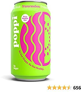 Poppi A Healthy Sparkling Prebiotic Soda, w/ Real Fruit Juice, Gut Health & Immunity Benefits, 12pk 12oz Cans, Watermelon