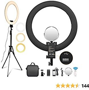 FOSITAN 20 Inch Ring Light [New Version], 3200-5600K Bi-Color, Dimmable LED Ring Light with Updated Stand, USB Charging Port, Mirror for YouTube, Blog, Portrait Makeup Video Shooting