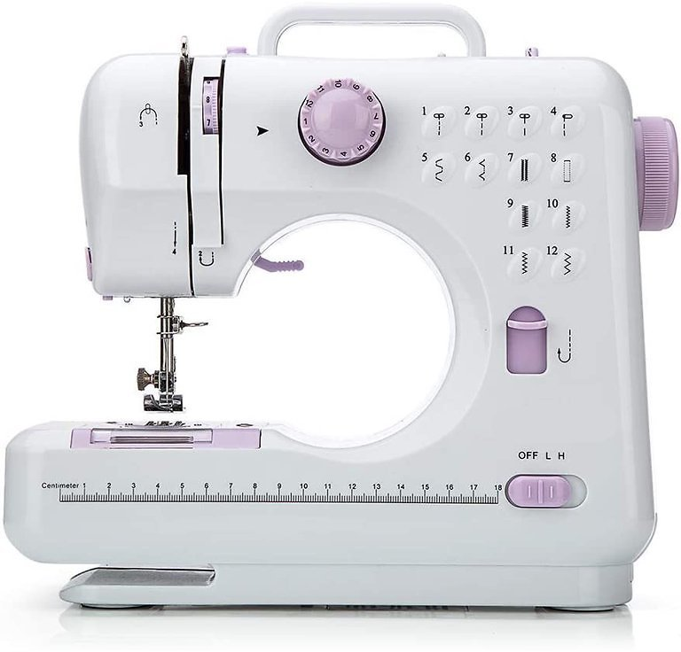 12 Stitches Sewing Machine, Multifunctional Mini Portable Sewing Machine, Two-Thread Lockstitch with High & Low Adjustable Speed